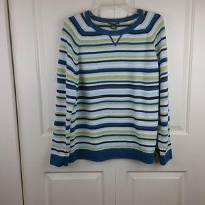 Eddie Bauer Blue Green Striped LS Sweater L